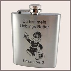 """Flachmann """"Lieblings Retter"""" Sanitäter, Rettung, Flask, Grilling, Food And Drinks, Gifts"""