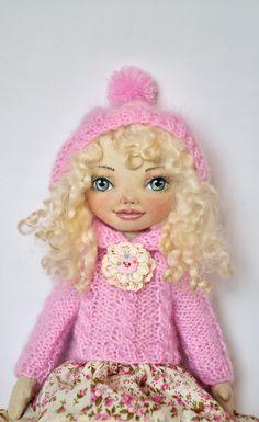 Textile doll decorative doll doll doll cotton rag от NilaDolss