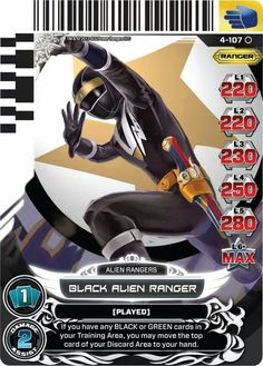 Black Alien Ranger Power Rangers Trading Card