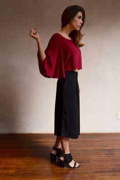 Blusa com manga ampla bordô