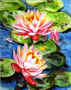Famous Paintings Water Lilies | Water Lilies Painting by Harsh Malik - Water Lilies Fine Art Prints ...