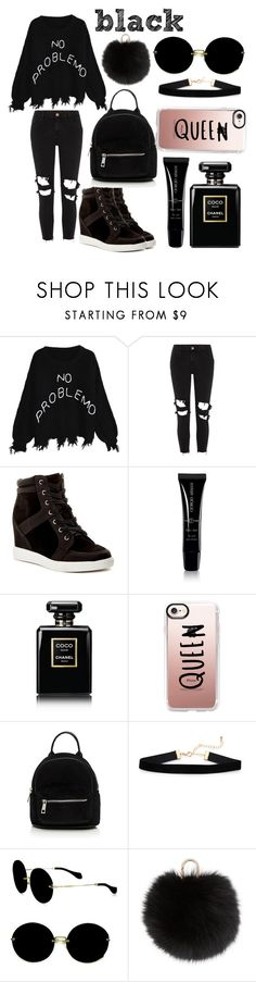 """black"" by thatsophie on Polyvore featuring River Island, Call it SPRING, Giorgio Armani, Chanel, Casetify, Simons, Miu Miu and Yves Salomon"