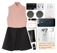 """""""Black & white & pink"""" by rheeee ❤ liked on Polyvore featuring Caran D'Ache, Diesel Black Gold, Herbivore, Fig+Yarrow, SUQQU, Dollhouse and NARS Cosmetics"""