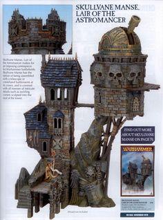 Skullvane Manse - I have one of these glued together but it's still unpainted! Warhammer Models, Warhammer Fantasy, Fantasy Rpg, Medieval Fantasy, Fantasy Model, Steampunk City, Warhammer Terrain, Halloween Village, Wargaming Terrain
