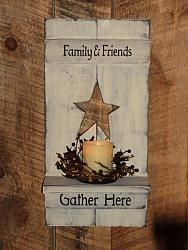 Star Shutter Wall Candle Holder with Candle Pan/ with Saying-Family and Friends . Star Shutter Wall Candle Holder with Candle Pan/ with Saying-Family and Friends Gather Here-Decorated crafts Primitive Wood Crafts, Wooden Crafts, Country Primitive, Primitive Snowmen, Primitive Painting, Primitive Stitchery, Primitive Patterns, Primitive Signs, Cork Crafts