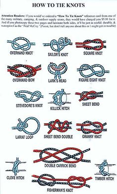 diffrent types of knots | Survival Knots-Ranger Knots-Basic Knots info