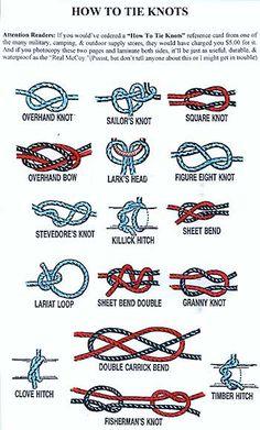 diffrent types of knots | Survival Knots-Ranger Knots-Basic Knots info