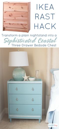 You don't have to have a lot of building experience to turn this simple pine dresser into a gorgeous nightstand. This Ikea Rast hack has a sophisticated coastal vibe that is perfect for a beach house or for a tranquil bedroom space. Ikea Bedroom, Bedroom Decor, Decor Room, Bedroom Ideas, Furniture Makeover, Diy Furniture, Coastal Furniture, Coastal Dresser, Bedroom Furniture