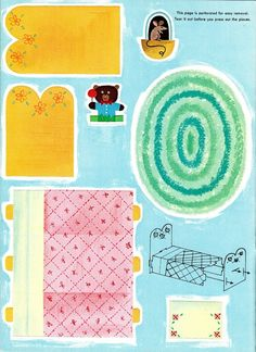 Cut out bed and rug for paper playhouse
