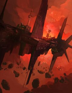 History of Mining Exploration - Red Cloud Asteroid Mining Station Concept Cyberpunk, Sci Fi Fantasy, Fantasy World, Illustrations, Illustration Art, Dead Space, Futuristic City, Fantasy Paintings, Science Fiction Art