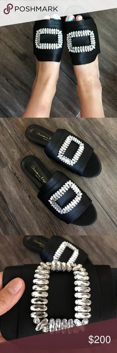 Roger vivier style inspired slides in US size 7.5 Brand new! Very well made (handcrafted in South Korea,Seoul) I only have one fair, bought for myself but decided to sell. No trade! Reasonable offers please! Comes with a box Roger Vivier Shoes Slippers