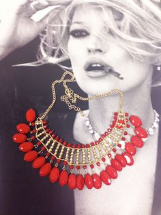 Red beaded bib necklace with gold chains by JEWELETTO on Etsy