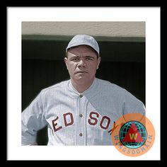 Buy Babe Ruth Boston Red Sox Colorized Framed Print by Wingsdomain Art and Photography. 1910, 1920, 1920s, america, american pastime, americana, art, babe, babe ruth, ball, ball park, ballpark, bambino, baseball, baseball player, baseball players, boston, boston red sox, buy, cactus league, canvas print, celebrity, classic, coliseum, face, faces, fine art, fine art america, fineartamerica, for sale, framed print, greeting card, home decor, imagekind, league, major, major league, major league…