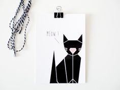 Cat card / Carte de Noël Chat / Christmas / Origami par Anichai