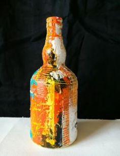 Dessin et peinture - vidéo 2068 : Peindre sur un support original préparé avec du gesso et décoré de manière abstraite avec de la peinture acrylique..