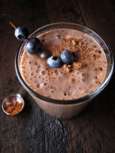 Chocolate Blueberry Smoothie  My mum used to blend a smoothie like this one up every weekend morning when I was younger- chocolate and blueberry was my favourite!