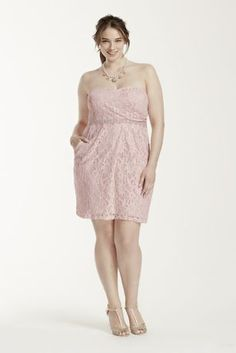 You will own the spot in this ultra-feminine lace dress!  Strapless lacebodicefeaturesbeaded waist trim.  Short and chic skirt has box pleats at thefrontand featuresside pockets.  By Brand City Triangle.  Fully lined. Back zip. Imported polyester/nylon/spandex blend.  Hand wash gently inside out in cold water. Do not wring or twist, do not bleach, dry flat. Do not iron glitter. Do not dry clean.Also available in Missy sizes as Style 3231BZ3C.