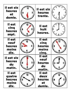 FLE/ Learning French: Telling the time/ Hours- Dire l'heure- Les heures