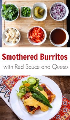 Smothered Burritos with Red Sauce and Queso recipe is perfect for impressing guests at your next dinner party, or for Mexican Monday's with your family. Lunch Recipes, Healthy Dinner Recipes, Mexican Food Recipes, Healthy Snacks, Ethnic Recipes, Side Recipes, Family Recipes, Family Meals, Nutrition Education