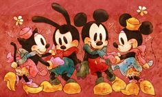 Mickey and Minnie, Oswald and Ortensia.