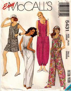 Vintage 90s Misses Jumpsuit Sewing Pattern Three Lengths Baggy Romper Back Elastic Drop Crotch Wide Legs Short Jumpsuit Plus Size Bust 40 42 by SuzisCornerBoutique on Etsy