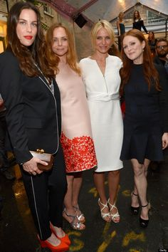 Liv Tyler, Cameron Diaz and Julianne Moore with Stella McCartney At Stella's Spring 2014 collection presentation in New York.