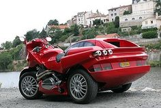 Snaefell Laverda Sidecar that Looks Like a Red Sports Car
