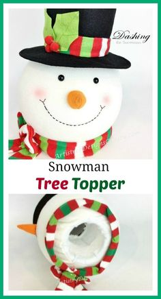 Modern-day Inside Style In Your Laundry Space Smiling Snowman Head Tree-Topper With Black Felt Top-Hat Snowman Tree Topper, Diy Tree Topper, Snowman Decorations, Christmas Tree Toppers, Christmas Tree Decorations, Christmas Tree Ornaments, Xmas Trees, Christmas Makes, Christmas Home