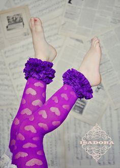 Girls Ruffle footless tights with hearts in purple by ISADORAKIDS, $19.99