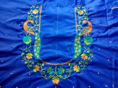 Peacock Blouse Designs, Best Blouse Designs, Simple Blouse Designs, Blouse Back Neck Designs, Silk Saree Blouse Designs, Embroidery Neck Designs, Embroidery Works, Machine Embroidery, Embroidery Patterns