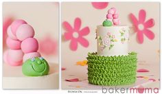 Caterpillar cake - Buttercream cake with piped 'grass', royal icing flowers to match the embroidery on the birthday girl's dress, and a gum paste caterpillar