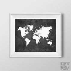 Another great find on zulily world map cork board by streamline world map 8x10 printable digital file dark black by happyfoxdesign gumiabroncs Image collections