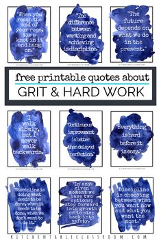 """Growing Kids with Grit-Pretty Printable Quotes about Grit and a Book List, EDUCATİON, What is this new buzzword """"grit"""" anyways? It sounds unpleasant, right? Check out these pretty quotes about grit and how to inspire it in. Free Printable Quotes, Free Printables, Growth Mindset Quotes, Motivational Quotes, Inspirational Quotes, Pretty Quotes, Social Emotional Learning, School Counseling, Quotes For Kids"""