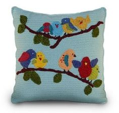 Crochet bird pillow