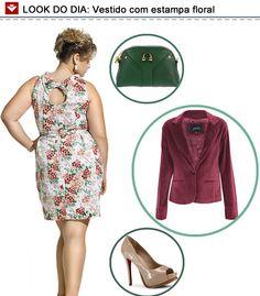 Look do dia para as mulheres cheinhas: vestido florido, salto alto e blazer! Assim, você vai arrasar onde for!