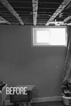 Here's how to make a small basement window look bigger and beautiful. #DIY #BudgetDIY #BasementWindowUpdate Basement Guest Rooms, Dark Basement, Small Basement Remodel, Basement Layout, Basement Windows, Basement House, Basement Walls, Basement Flooring, Basement Renovations