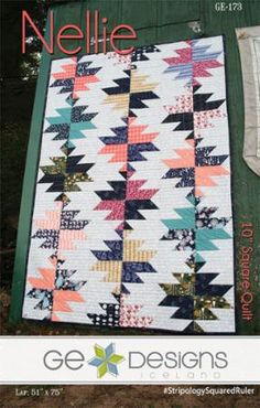 Pattern, Nellie by Gudrun Erla, 4 Sizes Modern Quilt, Uses 10 Inch Squares, Fast Shipping PT401