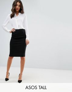 Shop the latest ASOS DESIGN Tall high waisted pencil skirt trends with ASOS! Pencil Skirt Dress, Pencil Skirt Outfits, High Waisted Pencil Skirt, Pencil Skirt Black, Tube Skirt, Look Office, Office Wear, Casual Office, Stylish Office