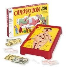"""Q.  What is the name of the patient in the game """"Operation""""? A.  Cavity Sam.  Toys and Games - Dumb Questions"""
