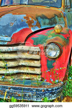 """""""Colorful, abandoned Vintage Truck with wild flowers"""" - Vintage Stock Photo from Go Graph"""