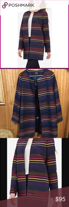 """The Limited Striped Car Coat Sz XXL Very chic and elegant open front coat with silky lining. Stripes are brown, gold, pink, and purple amidst a blue background. This is a Sz XXL from the Limited which is the equivalent of a Sz 18. Small slit sewed shut in back. Measurements: bust: as measured from underarm to underarm 46"""", Length: 36"""", bodice: 44"""". Shell is polyester and rayon, and is thick and appropriate for Fall. I ordered this coat a bit ago and it doesn't fit me 😞. My loss, your gain…"""