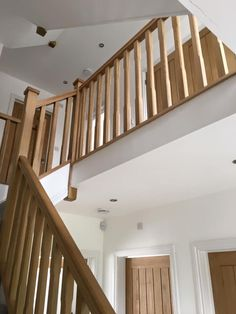 This is a Pine  with Oak Handrails, Oak Chamfer Spindles and Oak Chamfer Newel Posts. Stairs And Doors, Oak Stairs, House Stairs, Oak Handrail, Staircase Handrail, Banisters, Oak Banister, 4 Bedroom House Designs, Hallway Designs