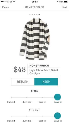 Stitch fix stylist-like the elbow patches and cardigan feel. I think I like the pattern.