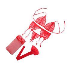 2017 Novos das Mulheres da marca Sexy Lace Abrir Bra Bikini Pijamas G-string Garter cinto 4 Pcs Conjunto de sutiã Lingerie Definir o transporte da gota A B C D COPO