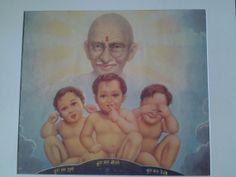 A 1940's Print of Gandhi with three children. Hear by Lallibhai, £10.00