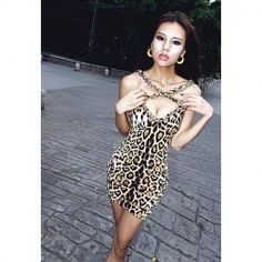 $7.54 Alluring Low-Cut Chain Decorated Backless Mini Club Dresses For Women