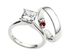"""www.eskaejeweller.com.au  An all platinum engagement and wedding ring set. Set with an impressive 1.74ct princess cut diamond. The setting was designed to show off the stone with minimal metal covering the diamond. We used a heart shaped ruby on the inside of the wedding ring so that my clients would """"always be together and always be in touch with each other"""" as the ruby touches her finger always..."""