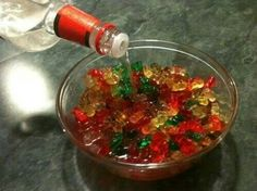 Soak gummy bears in vodka for 3-4 days in the fridge. They soak it up!!! Serve for a party!! Also try different flavored vodka or even a completely different alcohol!!