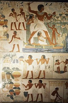 Paintings of scenes of everday life in the tomb of Nakht, Minister of Agriculture in the reign of Tutmosis IV, Valley of the Nobles, Thebes, UNESCO World Heritage Site, Egypt, North Africa, Africa