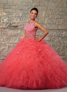 Youthful and on trend, this two-piece Mori Lee Vizcaya 89026 Quinceanera dress set is sure to be a favorite. It features a sleeveless crop top with taken in shoulders, crafted in lace with crystal-beaded trim at the...